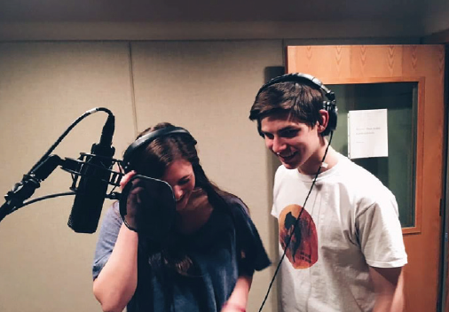 """aos student andrew gabriel recording for """"breaking the moon!"""""""