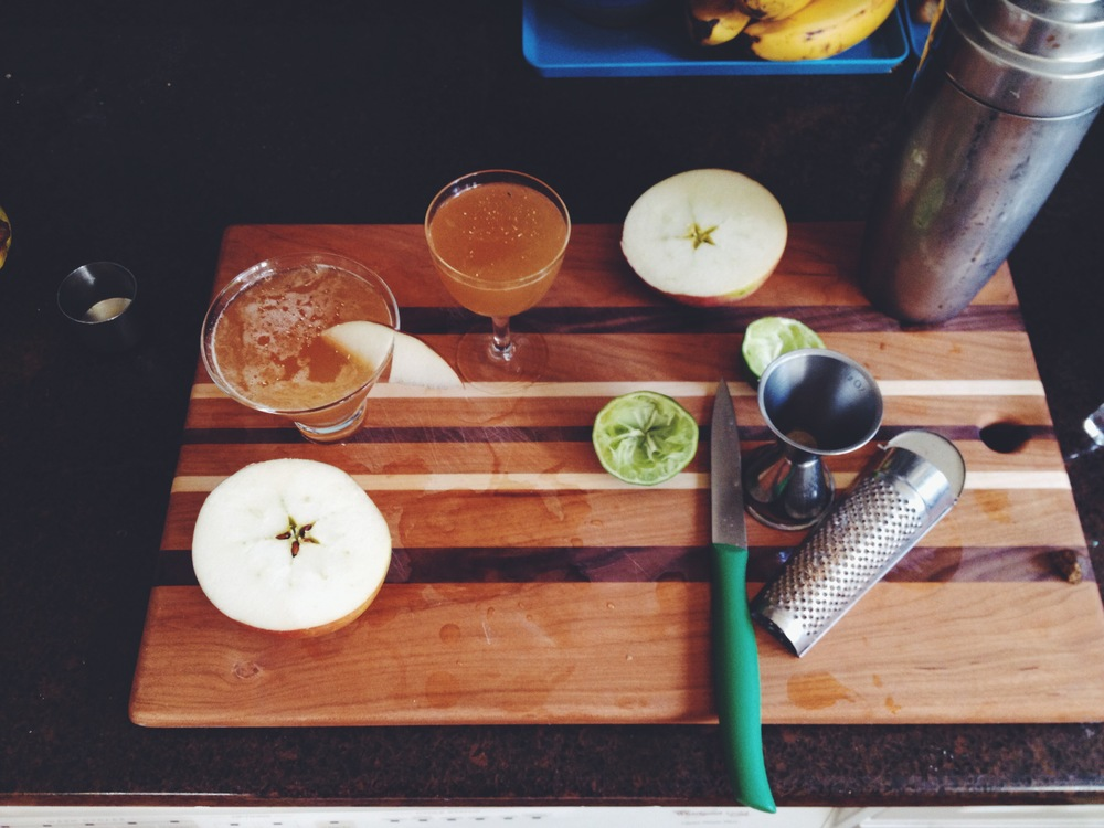 Kick in the Pants: fresh cider, rye, lemon juice, and Benedictine