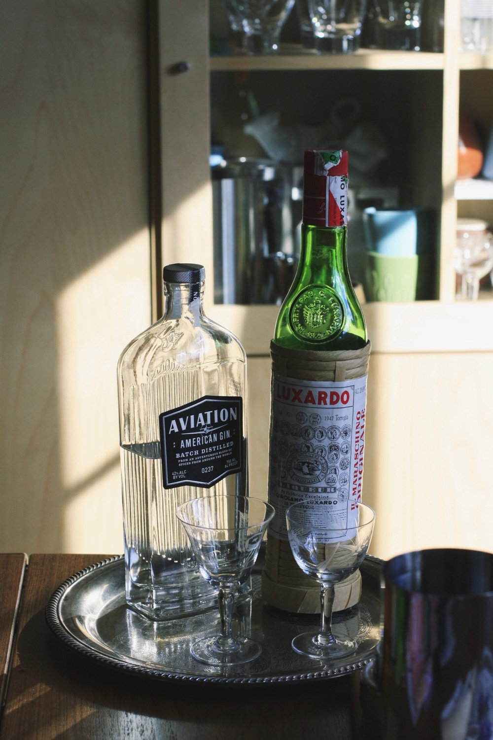 Aviation gin and Maraschino liqueur