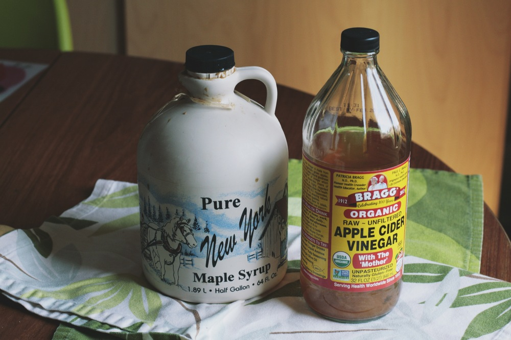 Maple syrup from the Finneys and real apple cider vinegar