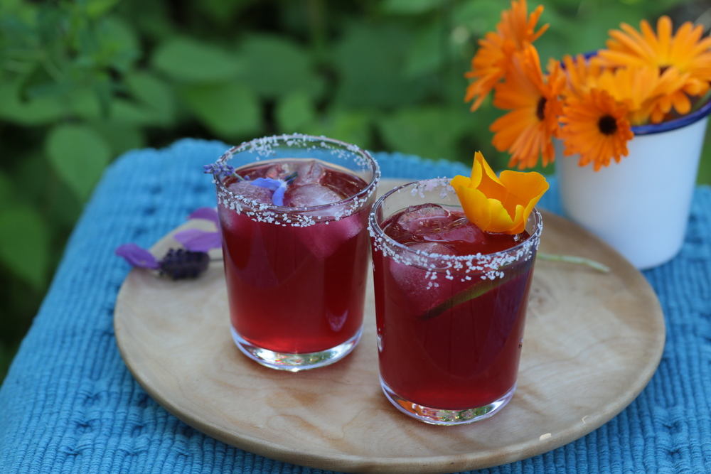 Hibiscus Margaritas with Salted Rims