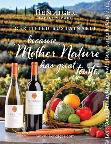 Left Coast Marketing Advertisement Photography for Benziger Family Winery