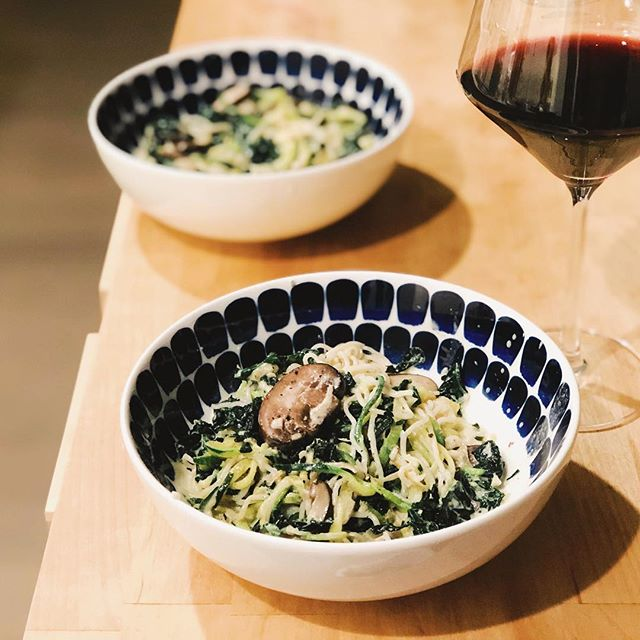 Tofu noodles & zoodles with mushrooms & kale in a truffle cream sauce. Made with ❤️ by @lauramarbeck & me....delish.