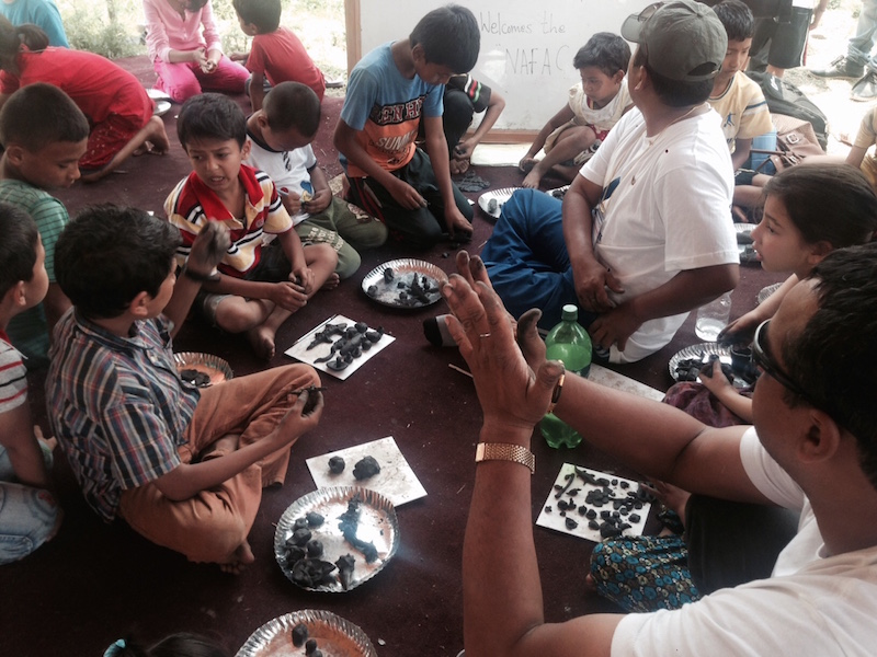 Children in our Temporary Child Protection Shelter IN Kathmandu make different sculptures during the day