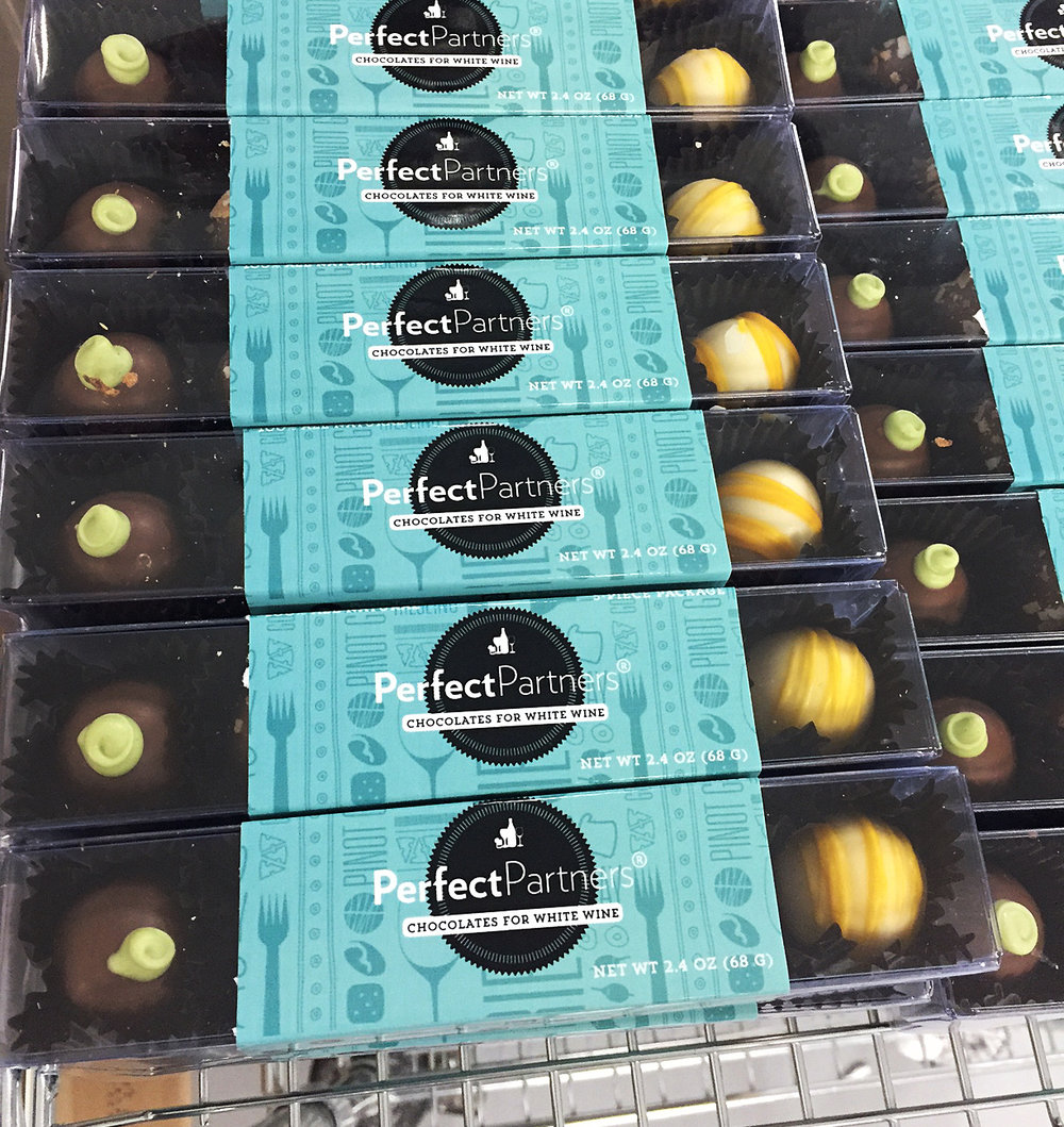 Here is a sneak peek image of our Chocolates for White Wine pairing gift box.