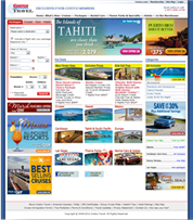 The Costco Travel website homepage before our redesign work.