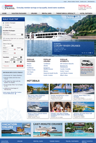 The Costco Travel website homepage after our redesign work.