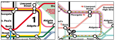 A portion of the London Tube map (left) and the same portion redesigned for colorblind users by  232 Studios & Ian Hamilton  (right).
