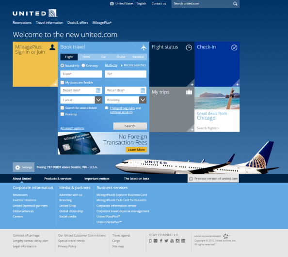 United.com after redesign
