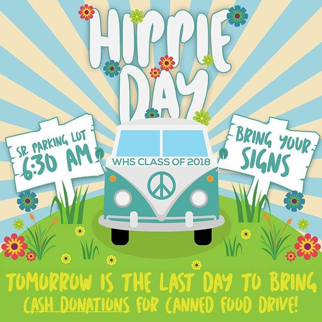 """DAY ONE OF SENIOR SPIRIT WEEK: DONE ✅  NEXT UP: HIPPIE DAY! Let's make tomorrow RADDD by bringing protest signs & instruments to tomorrow's rally. MEET IN SR. PARKING LOTS AT 6:30 AM.  ALSO: Tomorrow is the LAST day for cash donations! Donate your money to an officer or drop your donations off in one of the jars labeled """"SENIORS"""" ----- AND IT'S COMING UP... OUR LAST SKIT EVER!     We are in need of stagehands, so PLEASE let us know if you can do it!     GYM NIGHT IS MANDATORY IF YOU'RE GONNA BE IN SKIT!     Bring $15 to get a skit shirt. We will sell and distribute ONLY on Wednesday."""