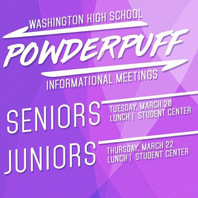 POWDERPUFF MEETING TOMORROW 🏈 💦  The GRIND AIN'T STOPPIN' SENIOR YEAR! 💪🔥💨Senior girls, come to the Student Center tomorrow during lunch if you're interested in participating in Powderpuff for one last time!  Tomorrow is MANDATORY for all those interested!