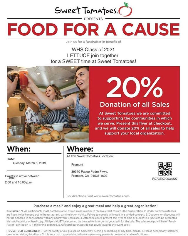 Come support c/o 2021 @ sweet tomatoes this tuesday 🧡🐾 !!