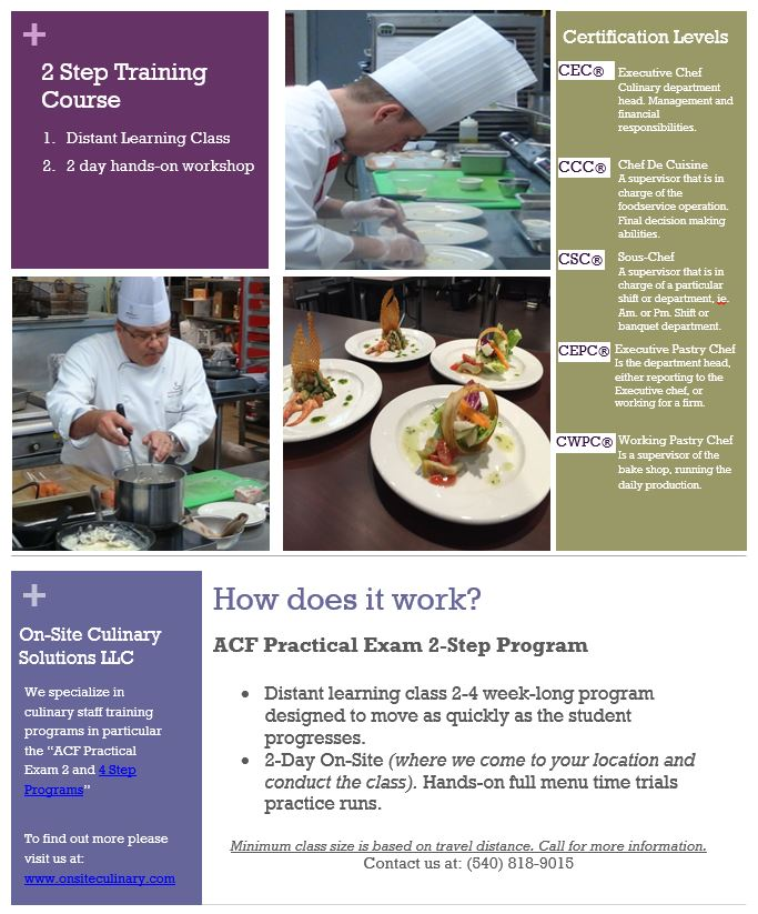 2 Step ACF Certification — On Site Culinary