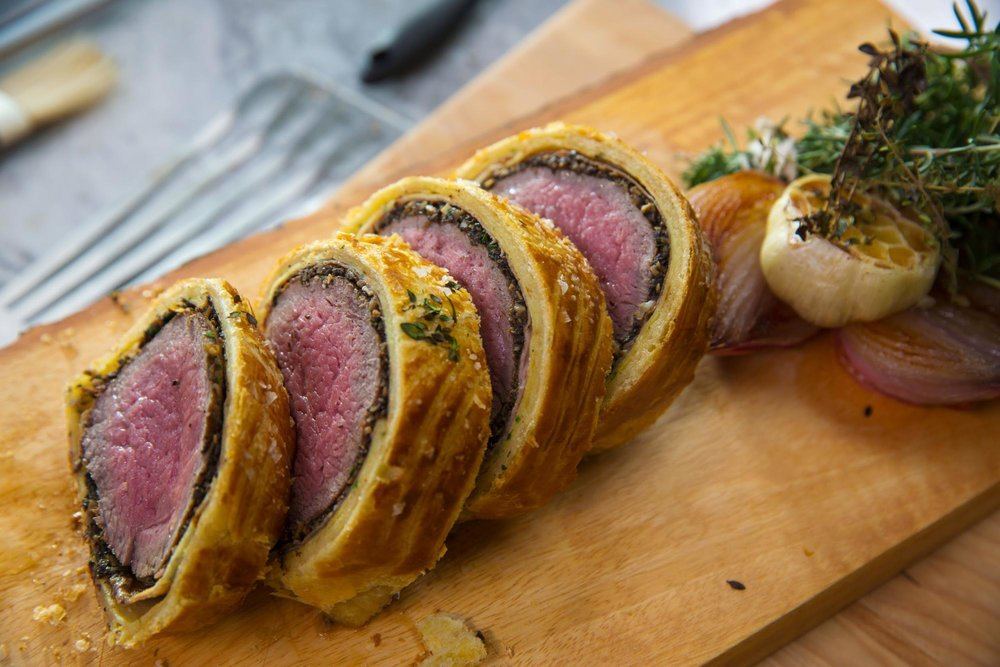We will be making the classic Filet Wellington topped with Duxelle Mushrooms, Goose-Liver and wrapped in Puffed Pastry.Stocks and sauces from bones to include thickening and finishing techniques. -