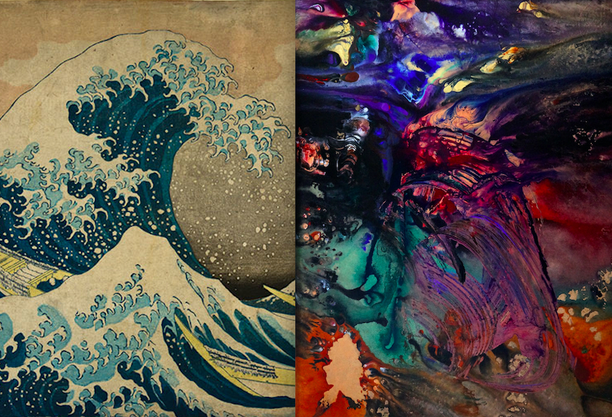 The Great Wave by Hokusai, and Tsunami by Ron Matzov