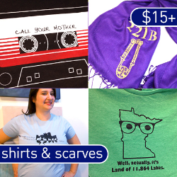 Geeky scarves, shirts, and gifts for women and men