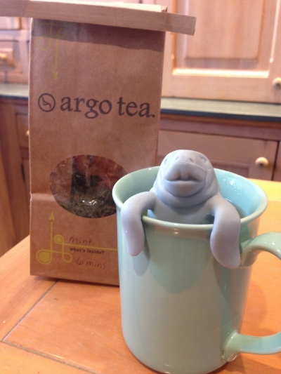 "{My new ""manaTEA"" infuser that hangs over my tea cup}"