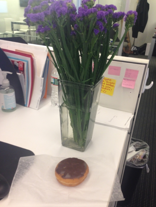 { Flowers and traditional Boston Creme doughnut to celebrate my mom's heaven birthday }