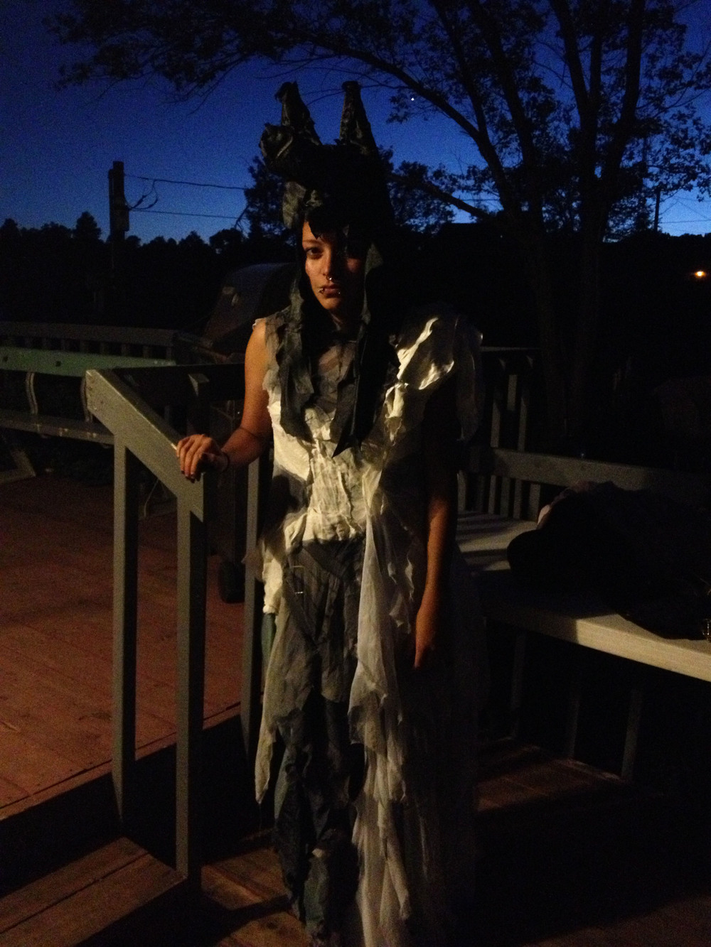 Felicity brown fashion black silk wolf head white silk dress native american  arizona trip .jpg
