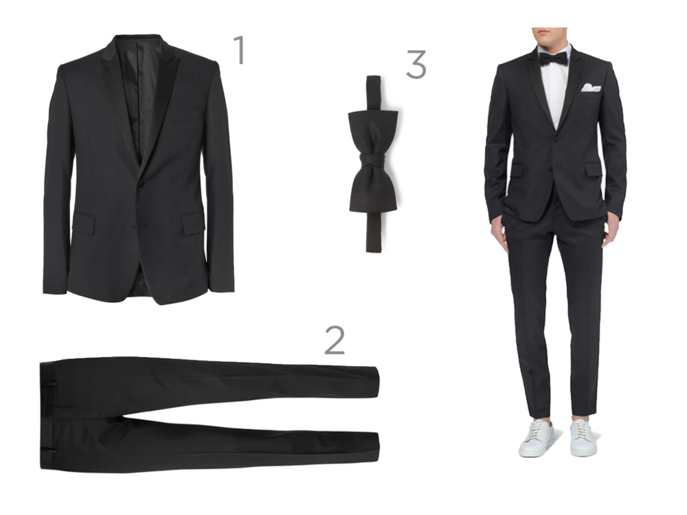 1 - SLIM-FIT WOOL TUXEDO BLAZER - £450 2- SLIM-FIT WOOL TROUSERS - £185 3- WOOL-FLANNEL BOW TIE - £50