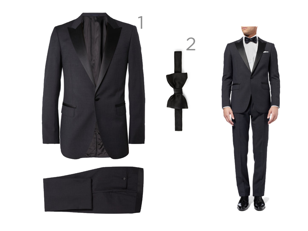 1 - LANVIN - GREY SLIM-FIT TROPICAL WOOL TUXEDO - £1,325 3 - LANVIN - NEW CLASSIC SILK-SATIN BOW TIE - £80