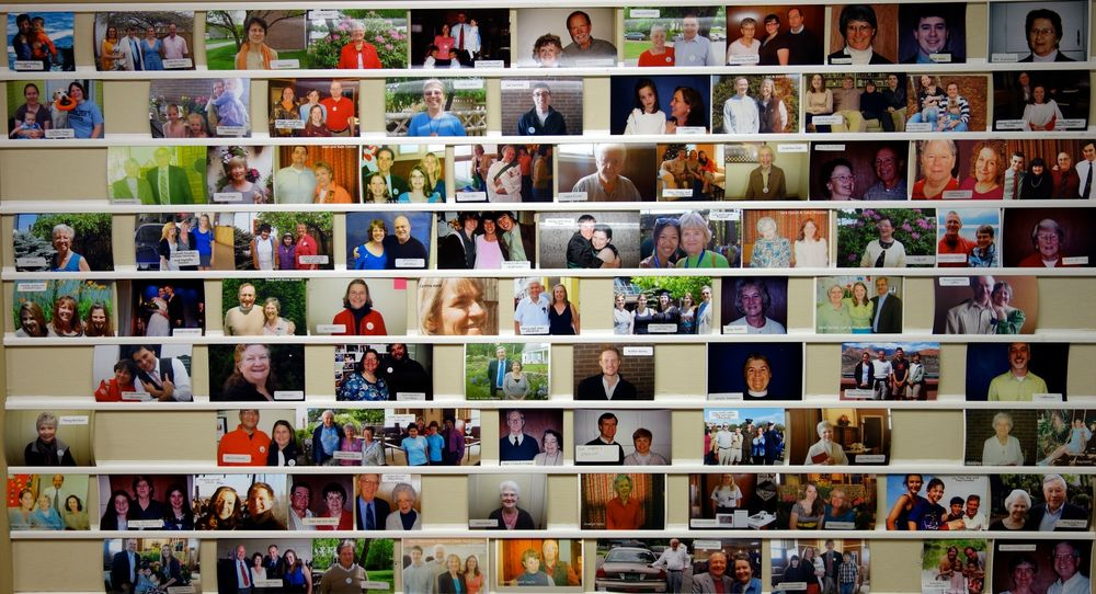 The photo board at St. Paul's Church