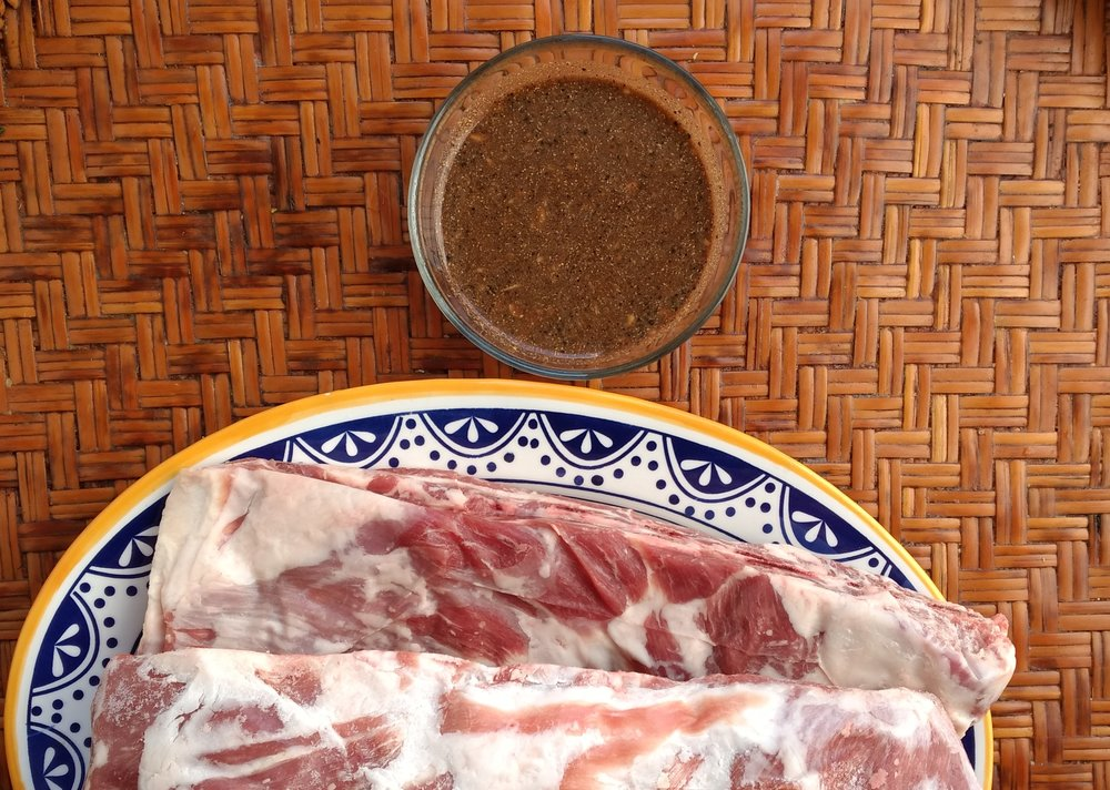 Directions:   1. Mix the spices, vinegar and tamarind together in a bowl to create the marinade.