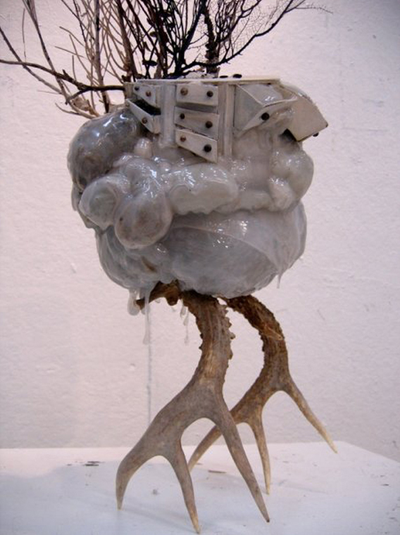 Studio Ghost 3  |  antlers, hot glue, moss + balsa wood  | 2008