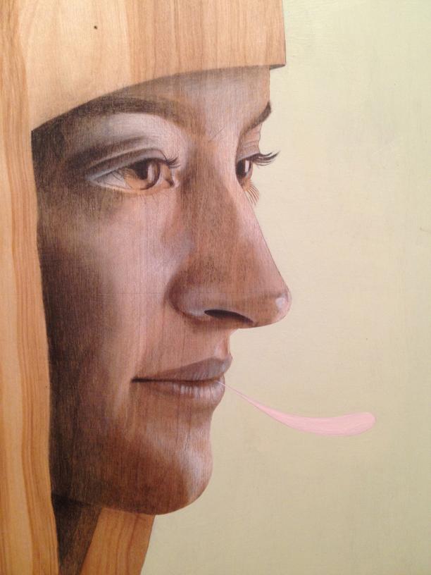 Liza     graphite + acrylic on wood panel     2013