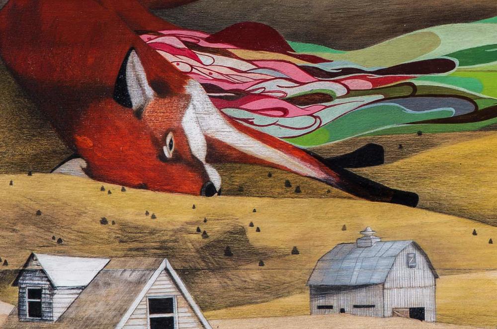 The Fox Dream  |  graphite + acrylic on wood panel  |  2011