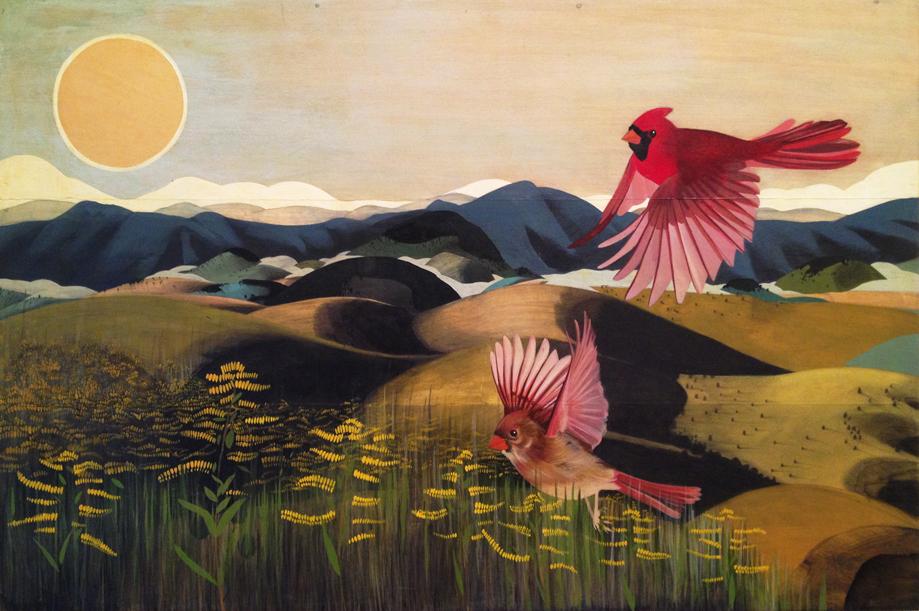 Cardinal  |  graphite + acrylic on wood panel  |  2012