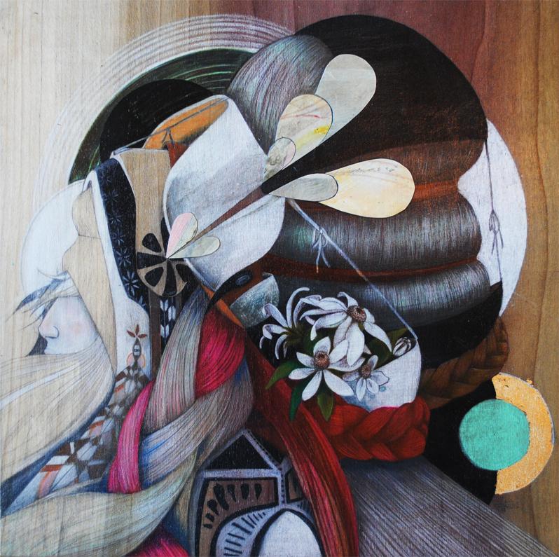 Braids  |  graphite + acrylic on wood panel  |  2011