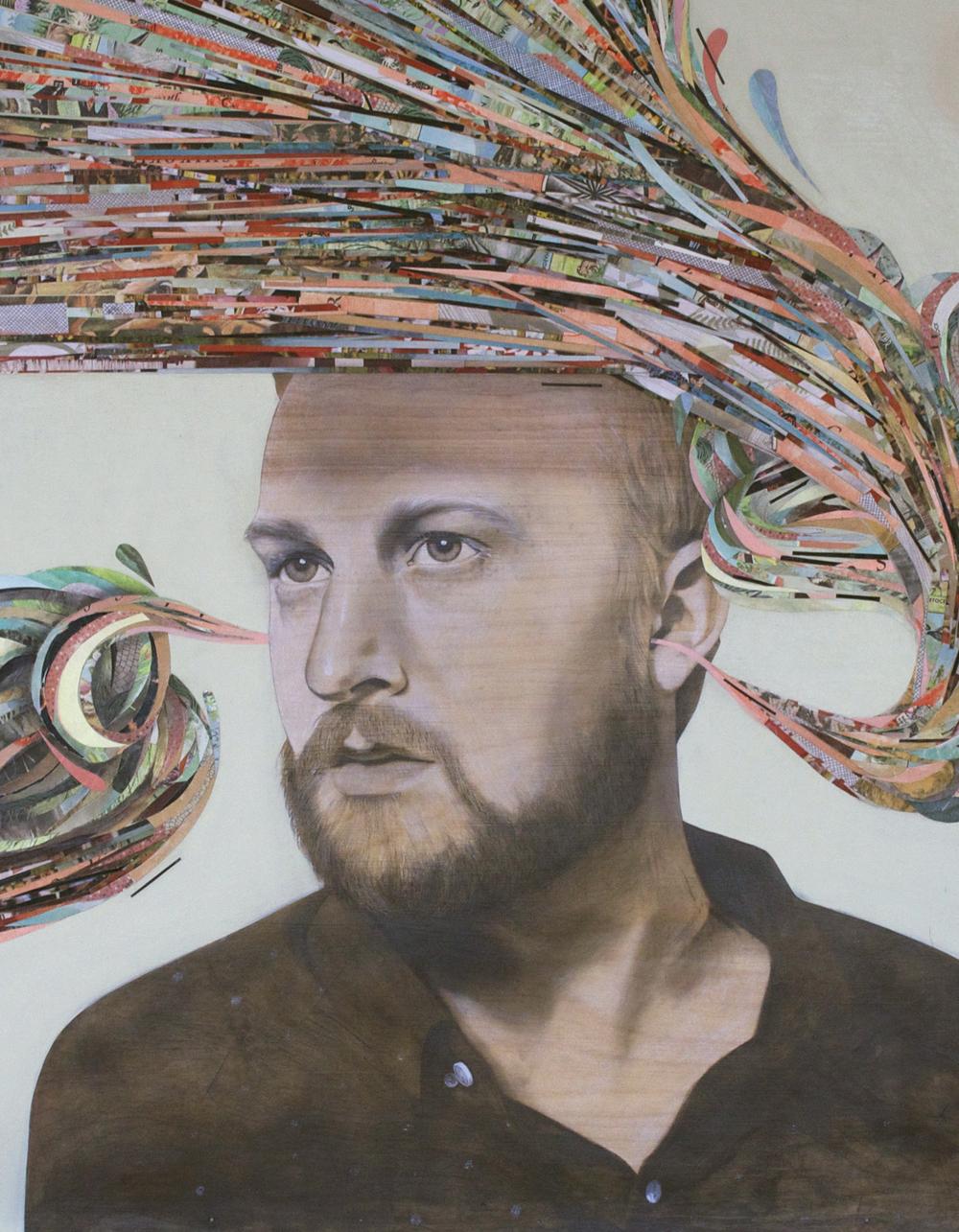 Derek | graphite, acrylic + paper on wood panel | 2014