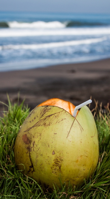 My first day in Bali at Canggu Beach, a fresh young coconut to start off my trip, and cool me down!