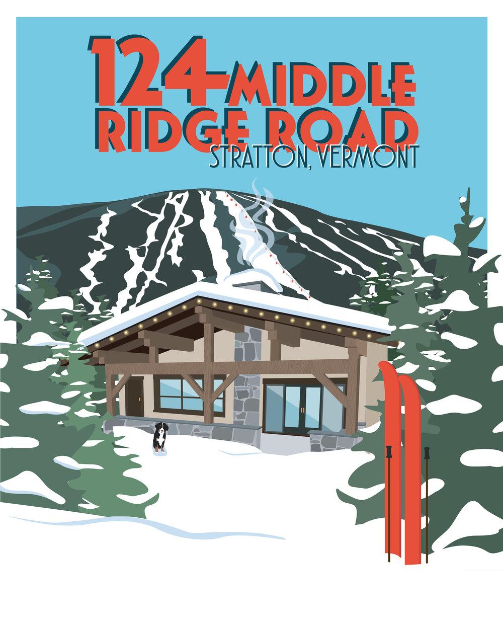 Custom poster inspired by vintage ski posters.