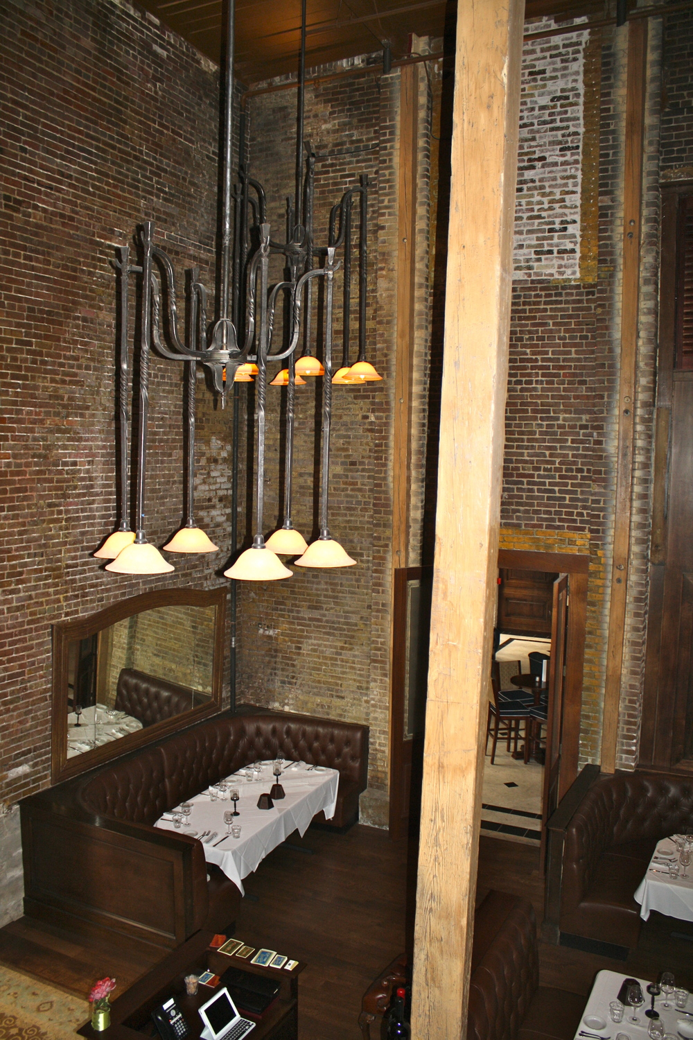 Lighting fixtures designed and forged by Robert Thomas at Artisans of the Anvil Inc.