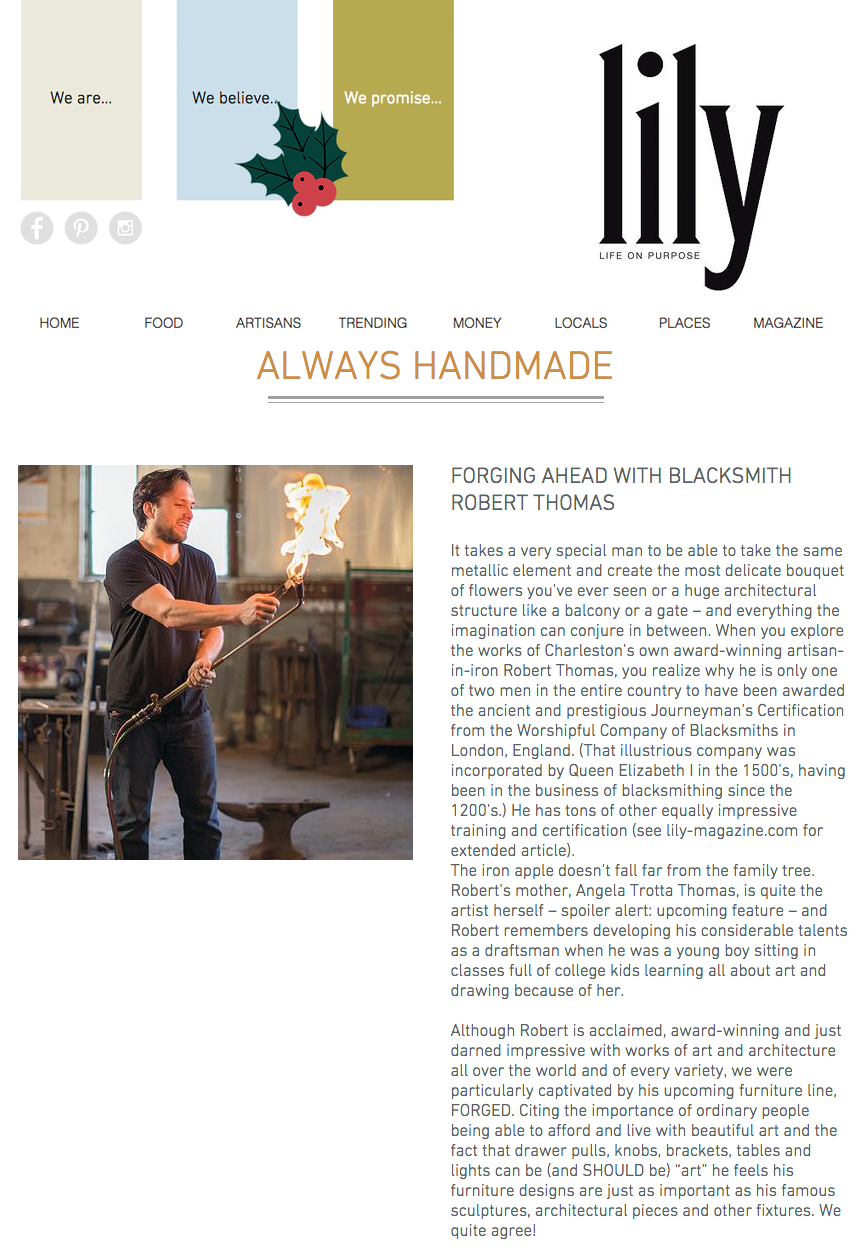 Forging Ahead with Blacksmith Robert Thomas - Click to read more.