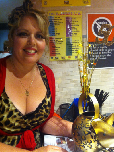 A glamorous Karen with the golden piggy bank
