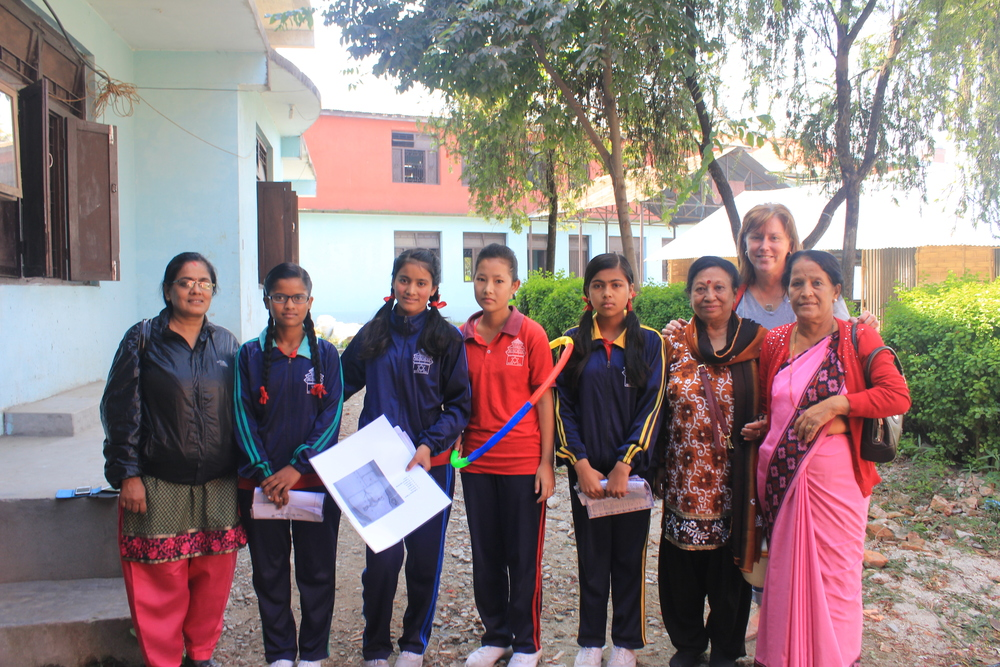 Students and teachers from Kanya Madhir school