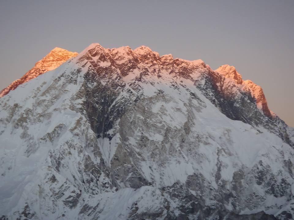 Everest (back left) at sunset