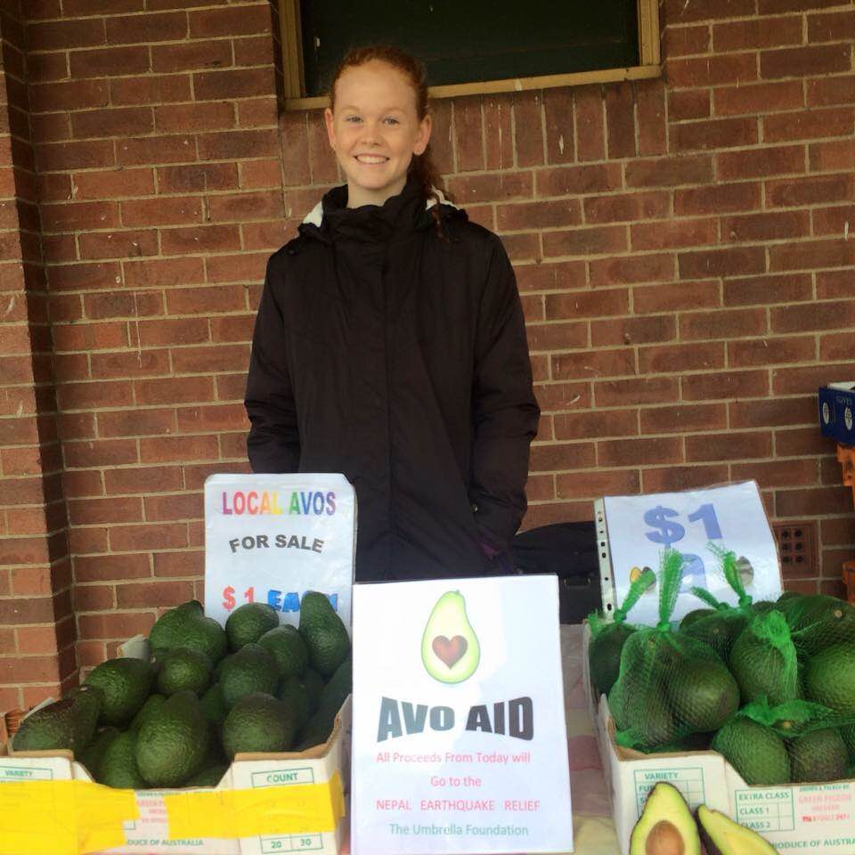 Zoe Culross raising funds at the farmers markets Kyogle NSW