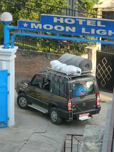 Mountain People Organisation departing from Hotel Moonlight with supplies