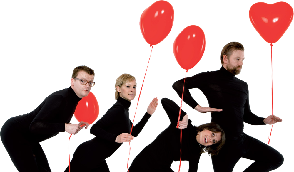 (l-r: Frank Hvam, Iben Hjejle, Mia Lyhne, Casper Christensen)