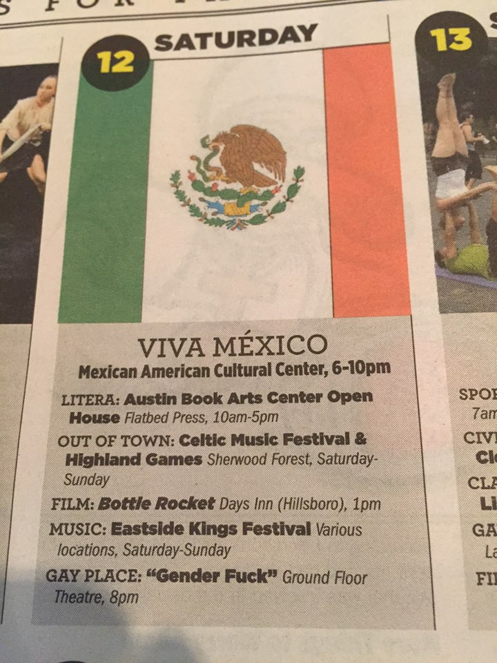 Blurb in Austin newspaper  Photo Credit  Ian McClarren