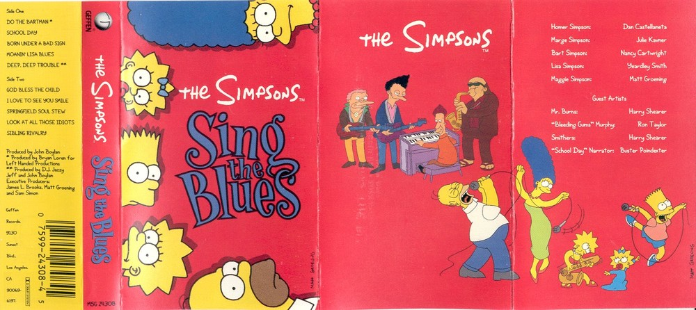 Simpsons Sing The Blues tape cassette insert