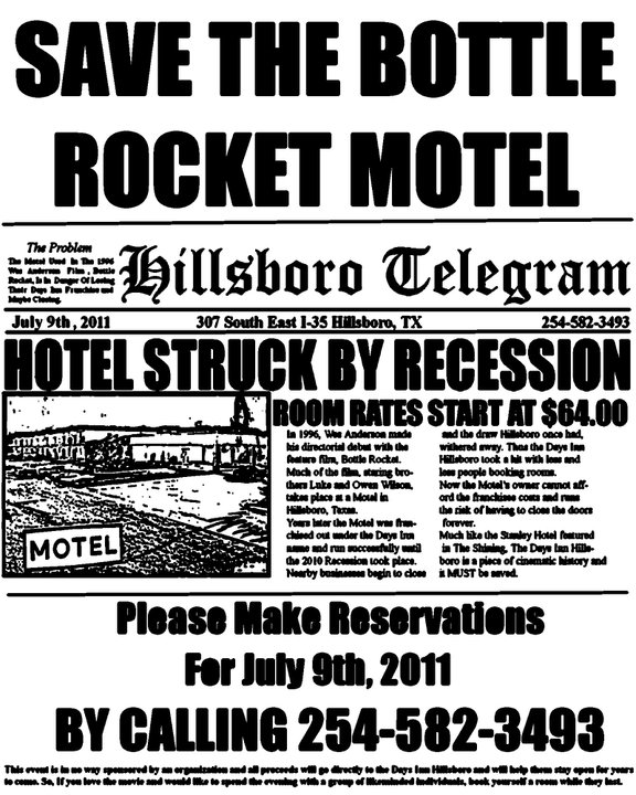 Save the Bottle Rocket Motel Flyer