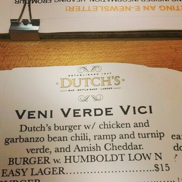 "It's Thursday Burger Night featuring the ""Veni Verde Vici"" Burger! A Dutch's Beef Burger topped with chicken and garbanzo bean chili, ramp and turnip verde & Amish cheddar! Enjoy with a Humbolt Low 'n Easy Lager. See you at 6pm until sold out!"