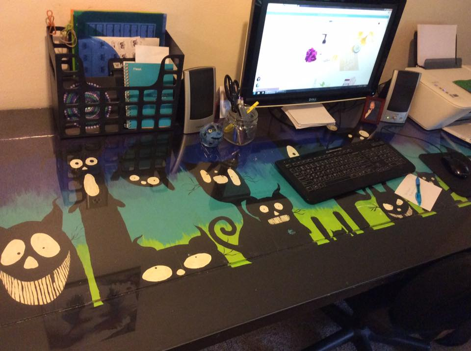 Moody Sister Jess's new office desk in Florida with black kitties!