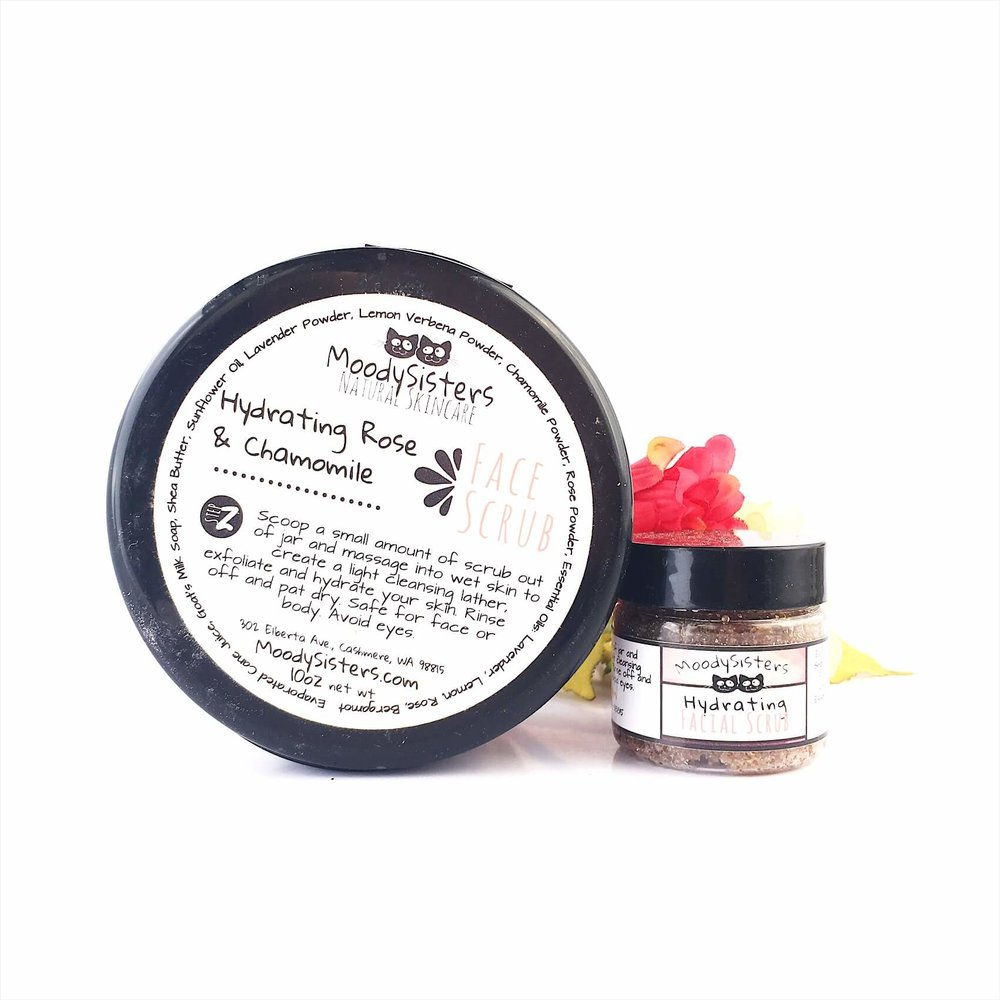 rose and shea facial scrub for dry sensitive skin