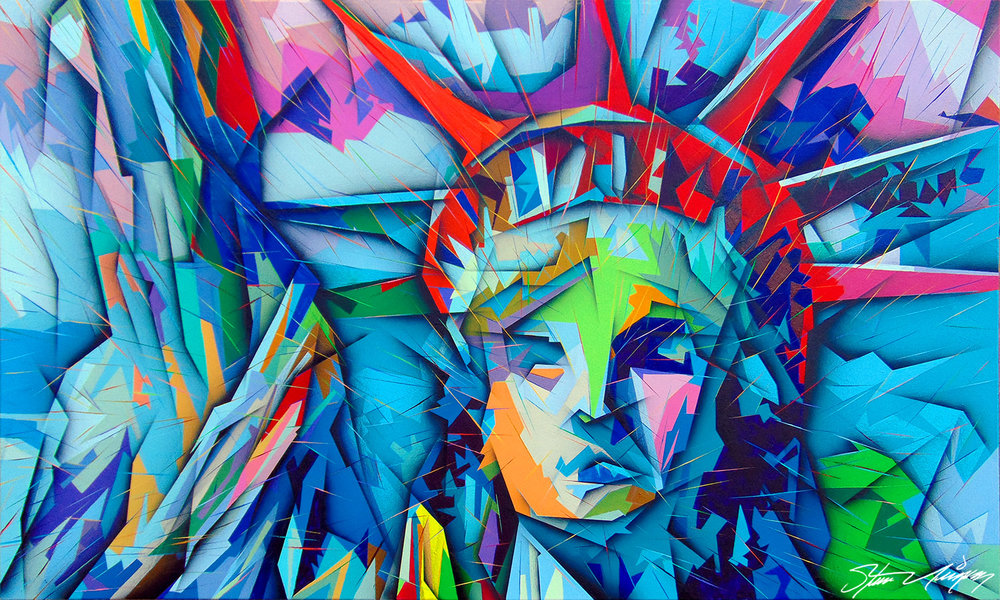 """Lady Liberty"" - Portrait of the Statue Of Liberty (36""X60"")."